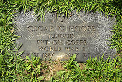 31 August 2017:   Veterans graves in Park Hill Cemetery in eastern McLean County.<br /> <br /> Oscar G Hoose Illinois Private QM Corps World War I July 21 1887 May 20 1946