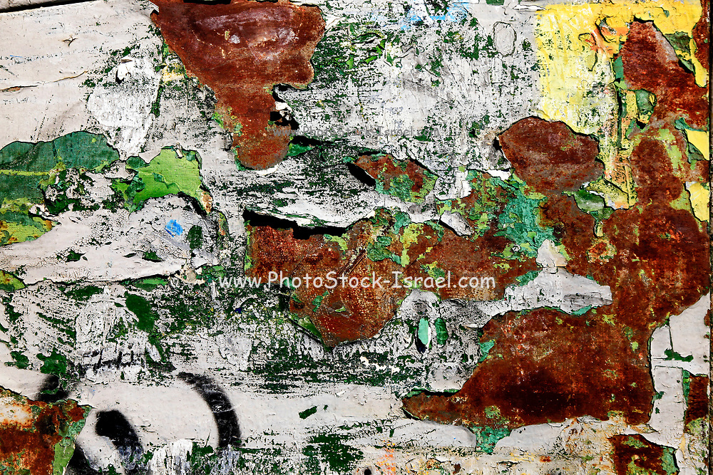Abstract rust close-up with green and yellow
