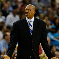 Mar 29, 2013; New Orleans, LA, USA; New Orleans Hornets head coach Monty Williams against the Miami Heat during the second half of a game at the New Orleans Arena. The Heat defeated the Hornets 108-89. Mandatory Credit: Derick E. Hingle-USA TODAY Sports