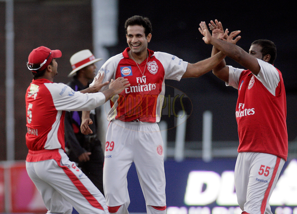 DURBAN, SOUTH AFRICA - 1 May 2009. Karan Goel, Irfan Pathan and Ramesh Powar celebrate the wicket of Jesse Ryder during the IPL Season 2 match between Kings X1 Punjab and the Royal Challengers Bangalore held at Sahara Stadium Kingsmead, Durban, South Africa..