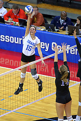 23 November 2017:  Kyla Inderski strikes towards Cassie Kawa during a college women's volleyball match between the Drake Bulldogs and the Indiana State Sycamores in the Missouri Valley Conference Tournament at Redbird Arena in Normal IL (Photo by Alan Look)