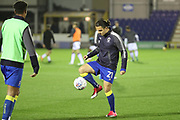 AFC Wimbledon attacker Egli Kaja (21) warming up with AFC Wimbledon defender Toby Sibbick (20) during the EFL Trophy match between AFC Wimbledon and Luton Town at the Cherry Red Records Stadium, Kingston, England on 31 October 2017. Photo by Matthew Redman.