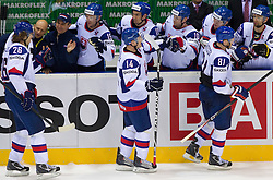 Michal Handzus, Stefan Ruzicka and Marian Hossa of Slovakia  during ice-hockey match between Slovakia and Germany of Group A of IIHF 2011 World Championship Slovakia, on May 1, 2011 in Orange Arena, Bratislava, Slovakia. Germany defeated Slovakia 4-3. (Photo By Vid Ponikvar / Sportida.com)