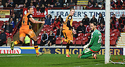 Sam Clucas double checks to see if he was offside as he celebrates his goal during the Sky Bet Championship match between Brentford and Hull City at Griffin Park, London, England on 3 November 2015. Photo by Michael Hulf.