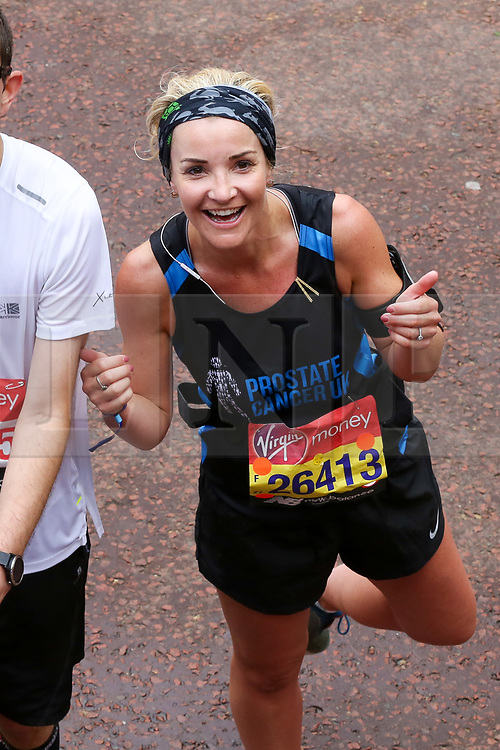 © Licensed to London News Pictures. 28/04/2019. London, UK. Television presenter, Helen Skelton at the finish of 2019 Virgin Money London Marathon. Photo credit: Dinendra Haria/LNP