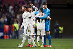 February 9, 2019 - Madrid, Madrid, Spain - Thibaut Courtois, Lucas Vazquez, Sergio Ramos and Dani Ceballos of Real Madrid celebrates victory after during the week 23 of La Liga between Atletico Madrid and Real Madrid at Wanda Metropolitano stadium on February 09 2019, in Madrid, Spain. (Credit Image: © Jose Breton/NurPhoto via ZUMA Press)