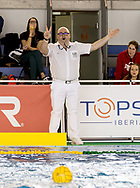 Marosvari Referee<br /> LEN Europa Cup Women 2018 finals<br /> NED-ESP Netherlands (white caps) V. Spain (blue caps) 3rd - 4th place<br /> Water Polo, Pallanuoto<br /> Pontevedra, Spain<br /> Complejo Rias do sur<br /> Day03<br /> Photo &copy; Giorgio Scala/Deepbluemedia/Insidefoto