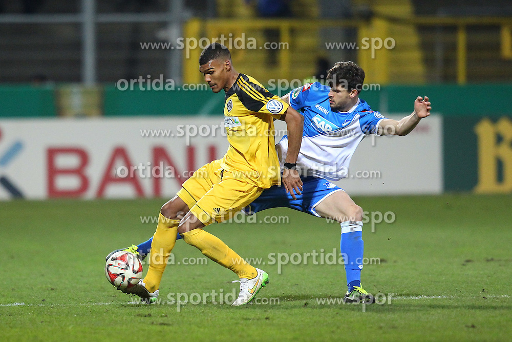 03.03.2015, Scholz Arena, Aalen, GER, DFB Pokal, VfR Aalen vs TSG 1899 Hoffenheim, Achtelfinale, im Bild Collin Quaner (VfR Aalen) rechts Tobias Strobl ( TSG 1899 Hoffenheim ) // during German DFB Pokal last sixteen match between VfR Aalen and TSG 1899 Hoffenheim at the Scholz Arena in Aalen, Germany on 2015/03/03. EXPA Pictures &copy; 2015, PhotoCredit: EXPA/ Eibner-Pressefoto/ Langer<br /> <br /> *****ATTENTION - OUT of GER*****