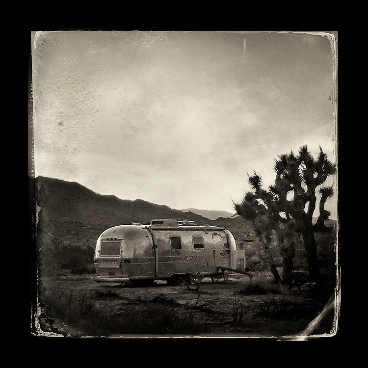 "Charles Blackburn Instagram image of An Airstream in Joshua Tree, CA. 5x5"" print."