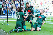 Nathan Blissett (13) of Plymouth Argyle celebrates scoring the winning goal to make the score 2-1 with Graham Carey (10) of Plymouth Argyle , Jakub Sokolik (31) of Plymouth Argyle  and David Fox (24) of Plymouth Argyle during the EFL Sky Bet League 2 match between Plymouth Argyle and Crewe Alexandra at Home Park, Plymouth, England on 29 April 2017. Photo by Graham Hunt.