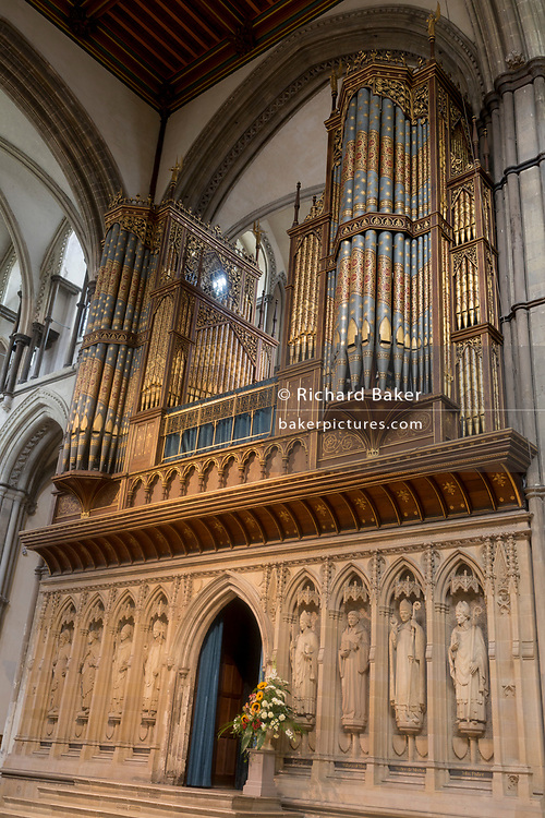 The organ in Rochester cathedral, on 22nd July, in Rochester, England