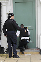 © Licensed to London News Pictures.19/03/2017.London, UK. Police search for a suspect in the surrounding area of a property on Wilberforce Road where one baby has been found dead and another seriously injured in Finsbury Park, north London. Photo credit: Tolga Akmen/LNP