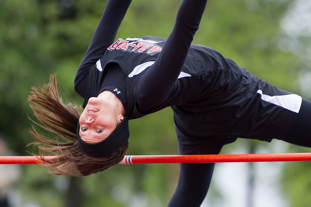 Ada-Borup's Miki Lee clears the high jump bar at the June 2, 2013, Minnesota Class 1A, Section 8 track and field meet on Saturday in Mahnomen, Minn.