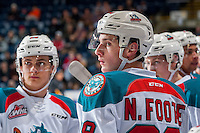 KELOWNA, CANADA - JANUARY 4: Nolan Foote #29 of the Kelowna Rockets stands at the bench against the Spokane Chiefs on January 4, 2017 at Prospera Place in Kelowna, British Columbia, Canada.  (Photo by Marissa Baecker/Shoot the Breeze)  *** Local Caption ***