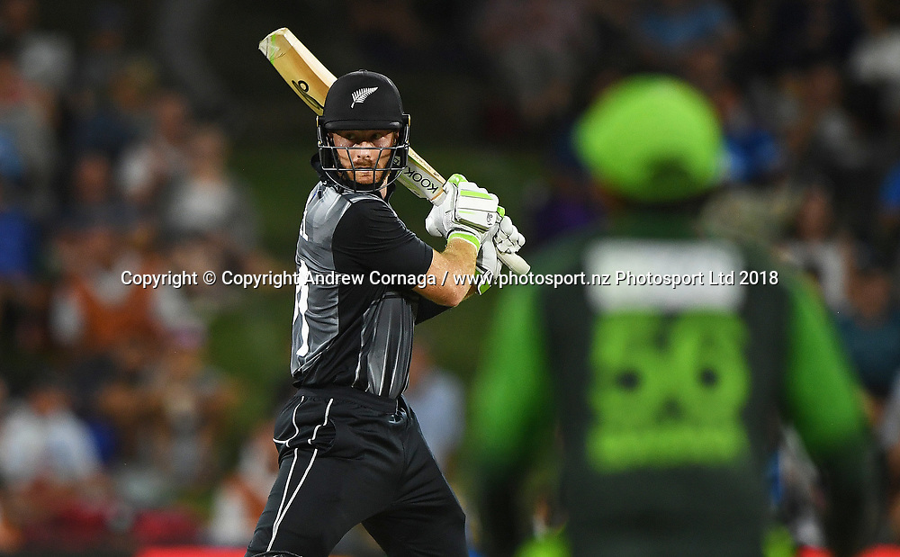 Martin Guptill batting.<br /> Pakistan tour of New Zealand. T20 Series. 3rd Twenty20 international cricket match, Bay Oval, Mt Maunganui, New Zealand. Sunday 28 January 2018. &copy; Copyright Photo: Andrew Cornaga / www.Photosport.nz