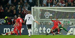 MONCHENGLADBACH, GERMANY - Wednesday, October 15, 2008: Wales' Ashley Williams and goalkeeper Wayne Hennessey make a save against Germany during the 2010 FIFA World Cup South Africa Qualifying Group 4 match at the Borussia-Park Stadium. (Photo by David Rawcliffe/Propaganda)