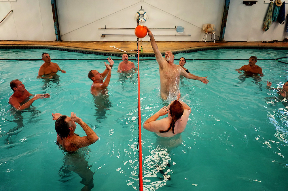 Residents play a game of nude Volleyball in an indoor pool at Deanza Springs Resort in Jacumba, CA on Sunday, February 15, 2015.Jacumba is located an hour East of San Diego.
