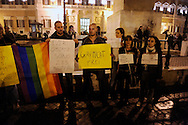 Roma 13 Ottobre 2009.Manifestazione contro la bocciatura della legge sull'omofobia,indetta dalla comunità omosessuale e non,davanti al Palazzo di Montecitorio..Demonstration against the rejection of the Law on homophobia, issued by the homosexual community and not in front of the Palace of Deputies