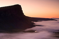 Dawn mist washing at foot of Skierffe mountain, Sarek National Park, Laponia World Heritage Site, Sweden