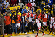 Golden State Warriors guard Stephen Curry (30) reacts to missing a three pointer at the buzzer against the Houston Rockets during Game 4 of the Western Conference Finals at Oracle Arena in Oakland, Calif., on May 22, 2018. (Stan Olszewski/Special to S.F. Examiner)
