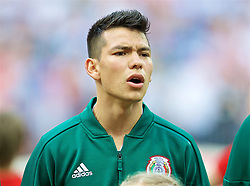 MOSCOW, RUSSIA - Sunday, June 17, 2018: Mexico's Hirving Lozano sings the national anthem before the FIFA World Cup Russia 2018 Group F match between Germany and Mexico at the Luzhniki Stadium. (Pic by David Rawcliffe/Propaganda)