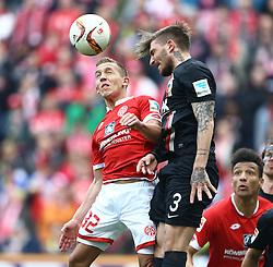 02.04.2016, Coface Arena, Mainz, GER, 1. FBL, 1. FSV Mainz 05 vs FC Augsburg, 28. Runde, im Bild Konstantinos Stafylidis (FC Augsburg) im Kopfballduell mit Pablo De Blasis (FSV Mainz 05) // during the German Bundesliga 28th round match between 1. FSV Mainz 05 and FC Augsburg at the Coface Arena in Mainz, Germany on 2016/04/02. EXPA Pictures © 2016, PhotoCredit: EXPA/ Eibner-Pressefoto/ Neis<br /> <br /> *****ATTENTION - OUT of GER*****