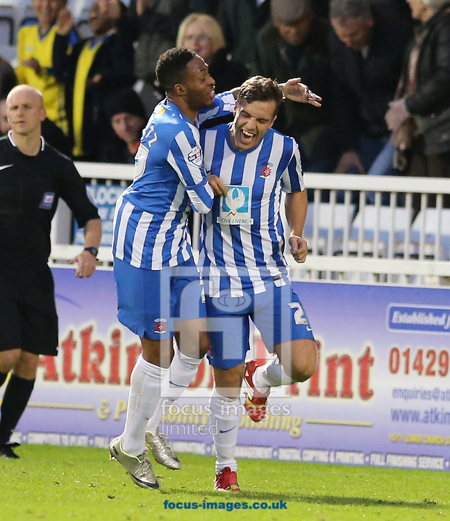 Michael Duckworth (right) of Hartlepool United is congratulated on scoring the equalizer by Sidney Schmeltz during the Sky Bet League 2 match at Victoria Park, Hartlepool<br /> Picture by Simon Moore/Focus Images Ltd 07807 671782<br /> 01/11/2014