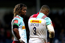Marland Yarde of Harlequins talks to Kyle Sinckler of Harlequins - Mandatory by-line: Robbie Stephenson/JMP - 01/01/2017 - RUGBY - Sixways Stadium - Worcester, England - Worcester Warriors v Harlequins - Aviva Premiership