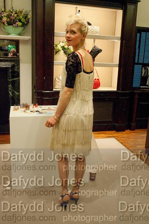 JESSICA DE LOTZ, Smythson Royal Wedding exhibition preview. Smythson together with Janice Blackburn has commisioned 5 artist designers to create their own interpretations of  Royal wedding memorabilia. Smythson. New Bond St. London. 5 April 2011.  -DO NOT ARCHIVE-© Copyright Photograph by Dafydd Jones. 248 Clapham Rd. London SW9 0PZ. Tel 0207 820 0771. www.dafjones.com.