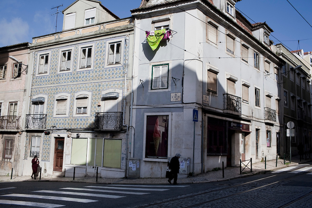 House hunting in Lisbon, Portugal. .Daily life in Lapa neighborhood.