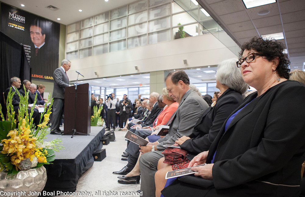 United States Supreme Court Justice, Sonya Sotomayor joined 5 other US Supreme Court justices in attending the Antonin Scalia Law School Dedication, at the Antonin Scalia School of Law, Arlington, VA, Thursday, October 6,, 2016.