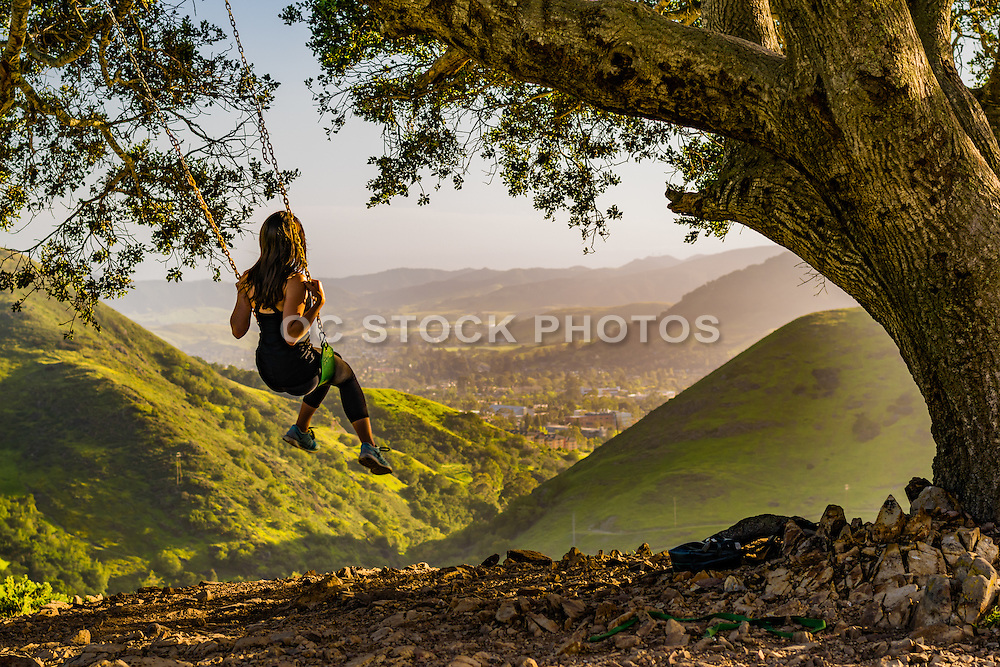 Girl on a Swing Overlooking the San Luis Obispo Valley