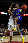 South Dakota State Jackrabbits forward Douglas Wilson (35) drives towards the basket in the first half against the Southern California Trojans during an NCAA basketball game, Tuesday, Nov. 12, 2019, in Los Angeles. USC defeated South Dakota State 84-66. (Brandon Sloter/Image of Sport)
