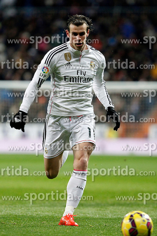 04.02.2015, Estadio Santiago Bernabeu, Madrid, ESP, Primera Division, Real Madrid vs FC Sevilla, 21. Runde, im Bild Gareth Bale of Real Madrid // during the Spanish Primera Division 21th round match between Real Madrid CF and FC Sevilla at the Estadio Santiago Bernabeu in Madrid, Spain on 2015/02/04. EXPA Pictures &copy; 2015, PhotoCredit: EXPA/ Alterphotos/ CARO MARIN<br /> <br /> *****ATTENTION - OUT of ESP, SUI*****