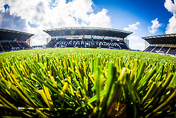 A landscape view of the new plastic pitch at The Falkirk Stadium, for the Scottish Championship game v Morton. The woven GreenFields MX synthetic turf and the surface has been specifically designed for football with 50mm tufts compared with the longer 65mm which has been used for mixed football and rugby uses.  It is fully FFA two star compliant and conforms to rules laid out by the SPL and SFL.<br />