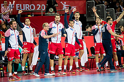 Lino Cervar, head coach  of Croatia and players celebrate during handball match between National teams of Croatia and France on Day 7 in Main Round of Men's EHF EURO 2018, on January 24, 2018 in Arena Zagreb, Zagreb, Croatia.  Photo by Vid Ponikvar / Sportida