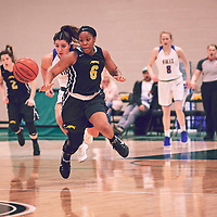 3rd year guard, Kyia Giles (6) of the Regina Cougars during the Women's Basketball Home Game on Fri Feb 15 at Centre for Kinesiology,Health and Sport. Credit: Arthur Ward/Arthur Images