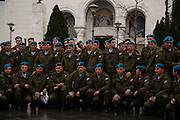 A group of Russian military arrived late during the ceremony and were greeted warmly by Serbian churchgoers. <br /> <br /> Joint liturgy with Serbian Orthodox and Russian Orthodox patriarchs in Sveti Sava cathedral. Belgrade, Serbia.