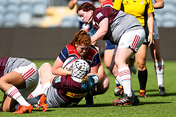 Kayleigh Armstrong of Bristol Ladies is tackled by Zoe Saynor of Aylesford Bulls - Rogan Thomson/JMP - 23/04/2017 - RUGBY UNION - Sixways Stadium - Worcester, England - Bristol Ladies Rugby v Aylesford Bulls - Women's Premiership Final.