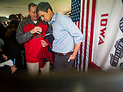 21 MAY 2019 - TIPTON, IOWA: BETO O'ROURKE, right, talks to local Democrats after a campaign appearance in Tipton, IA, Tuesday. O'Rourke, running to be the 2020 Democratic nominee for the US Presidency, has made climate change a central part of his campaign. He held a town hall in Tipton Tuesday. Iowa traditionally hosts the the first election event of the presidential election cycle. The Iowa Caucuses will be on Feb. 3, 2020.                   PHOTO BY JACK KURTZ