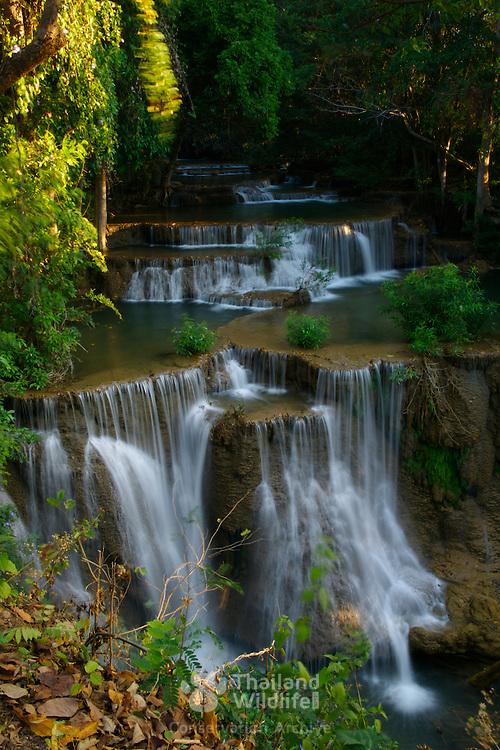 Waterfall at Mae Khamin in the Khuean Srinagarindra National Park in Kanchanaburi, Thailand, February 2007.