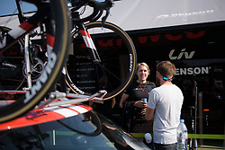 Ellen van Dijk in interview mode at Boels Rental Ladies Tour Stage 6 a 159.7 km road race staring and finishing in Sittard, Netherlands on September 3, 2017. (Photo by Sean Robinson/Velofocus)