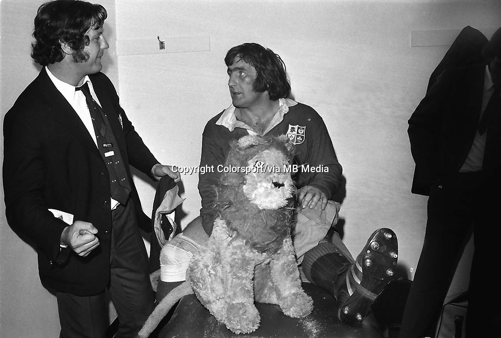 Ian MacLauchlan (with Lion) celebrates with Stewart McKinney after the 4th test. British Lions v South Africa 4th test  27/07/1974. Lions Tour of South Africa. 1974  Johannesburg  Credit : Colorsport