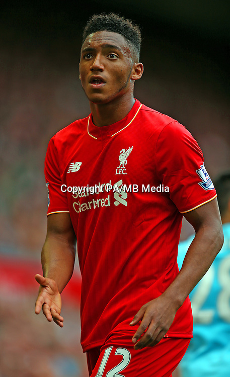 Liverpool's Joe Gomez during the Barclays Premier League match at Anfield, Liverpool.