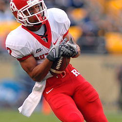 Oct 25, 2008; Pittsburgh, PA, USA; Following a penalty for false start, the second offensive play of the game for Rutgers results in a 60 yard TD grab for Rutgers wide receiver Tim Brown (2) during the first quarter of Rutgers' 54-34 victory at Heinz Field.