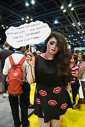Dubai, April 4th 2014; Female fan at the 2014 Middle East Film and Comic Con at World Trade Centre in Dubai United Arab Emirates