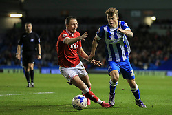 Brighton's Solly March puts Bristol City under pressure - Mandatory byline: Jason Brown/JMP - 07966 386802 - 20/10/2015 - FOOTBALL - American Express Community Stadium - Brighton,  England - Brighton & Hove Albion v Bristol City - Championship