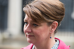 © London News Pictures. 18/05/15. London, UK. Plaid Cyrmu leader Leanne Wood hands in a petition at 10 Downing Street calling for electoral reform, Westminster, Central London. Photo credit: Laura Lean/LNP/05/15.
