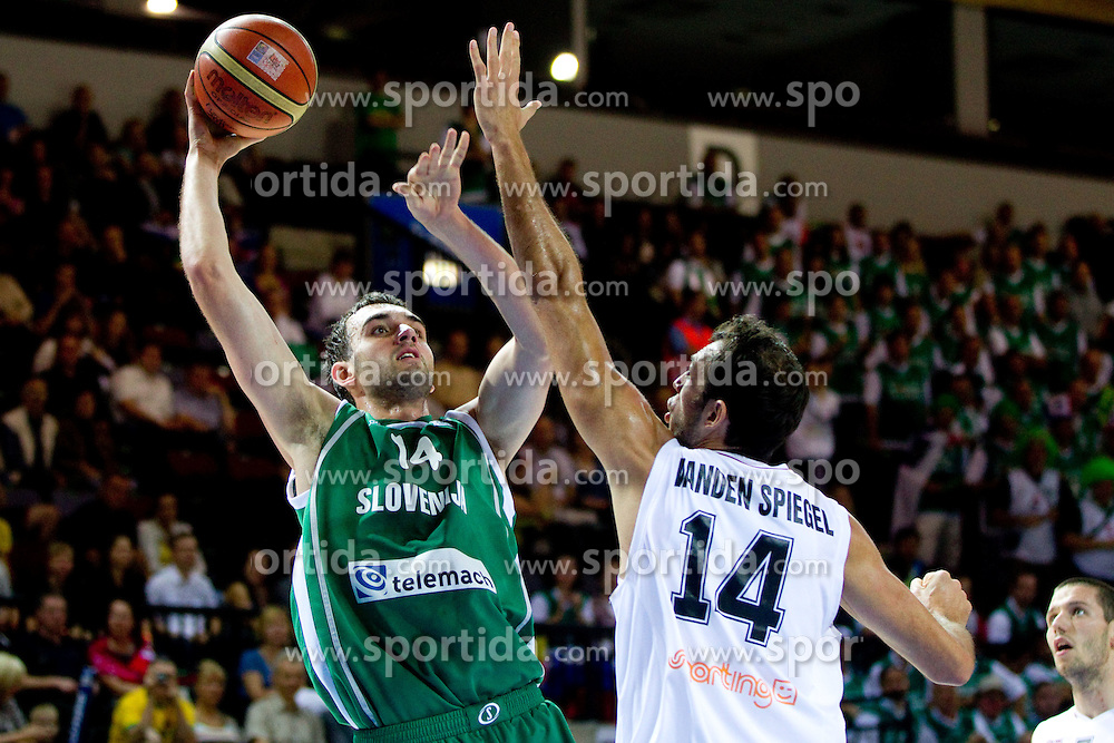 Mirza Begic of Slovenia vs Thomas van den Spiegel of Belgium during basketball match between National teams of Belgium and Slovenia in Group D of Preliminary Round of Eurobasket Lithuania 2011, on September 4, 2011, in Arena Svyturio, Klaipeda, Lithuania.  (Photo by Vid Ponikvar / Sportida)