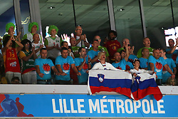 Fans of Slovenia during basketball match between Latvia and Slovenia at Day 8 in Round of 16 of FIBA Europe Eurobasket 2015, on September 12, 2015, in LOSC Lile stadium, Croatia. Photo by Marko Metlas / MN PRESS PHOTO / SPORTIDA
